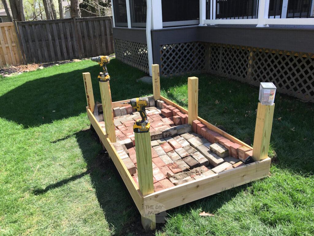 planter box being built in backyard