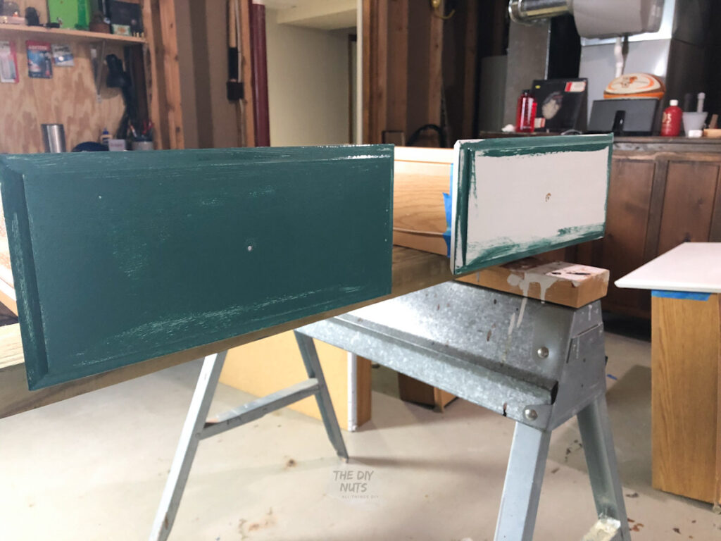 SW rookwood sash green repainting kitchen cabinets