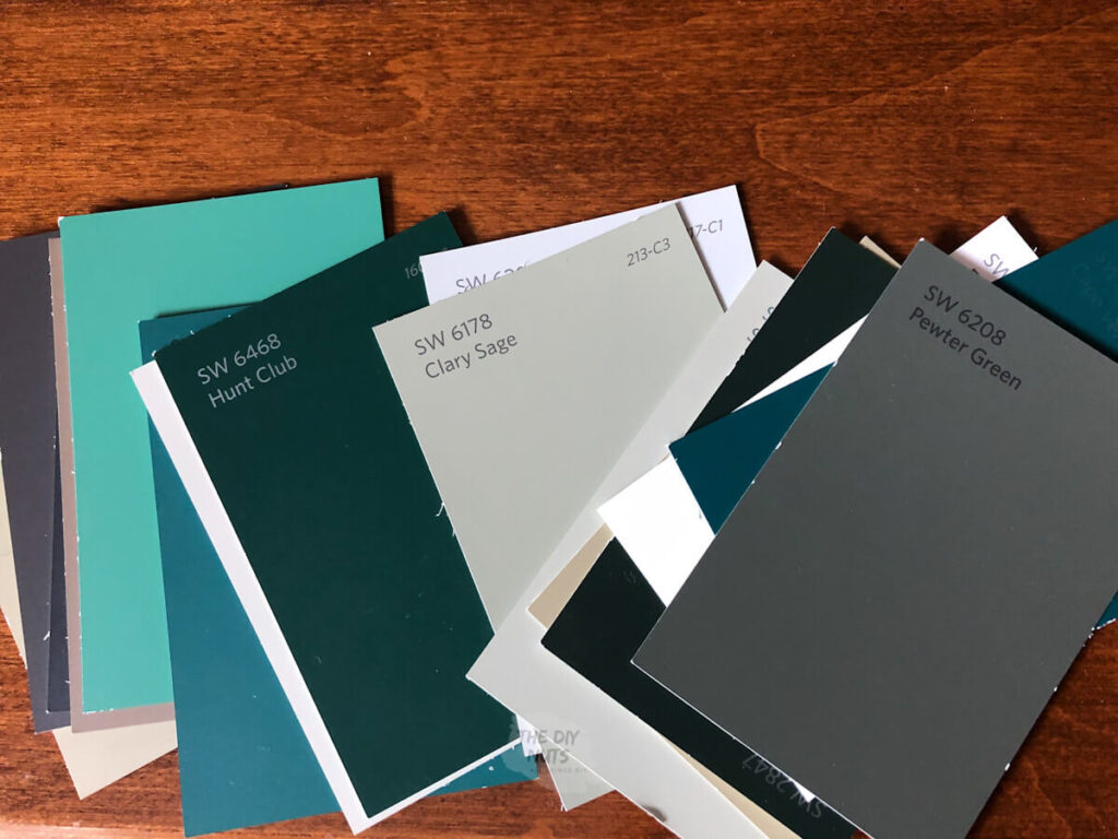 Green Paint chips from Sherwin Williams