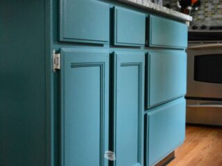 Repainted White Kitchen Cabinet Blue green