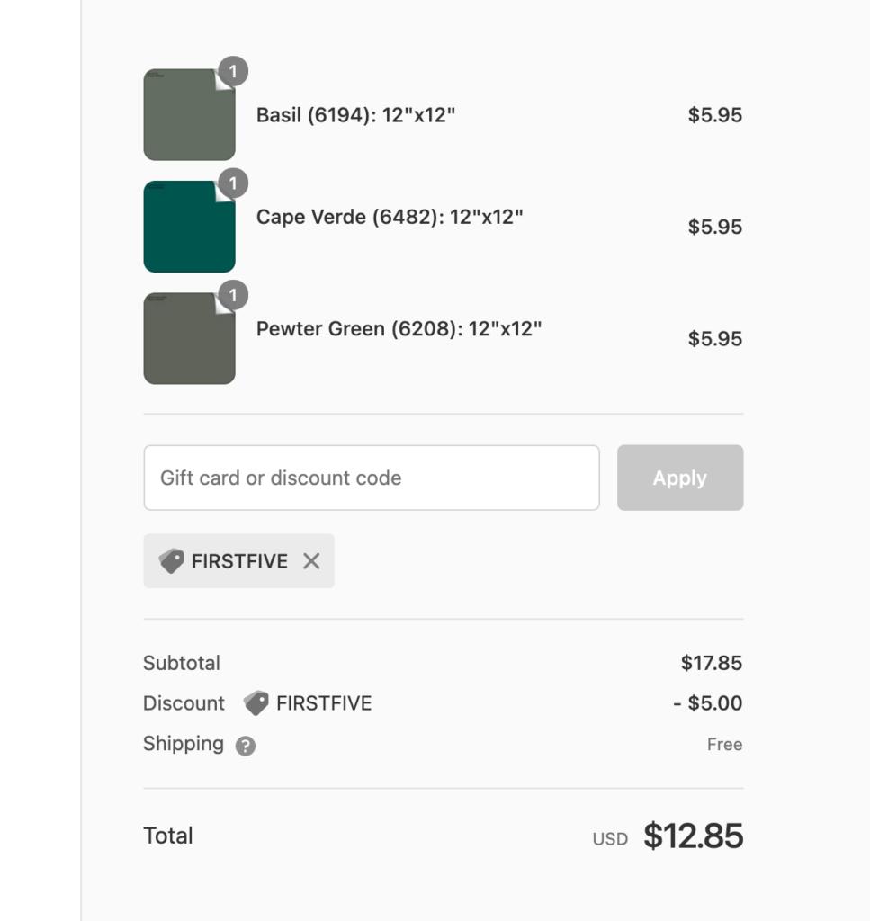 Samplize paint order cart