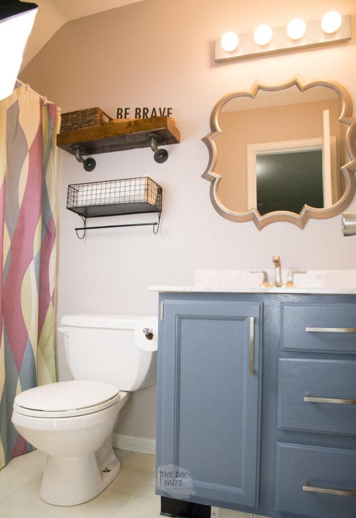 painted oak bathroom cabinets in small bathroom