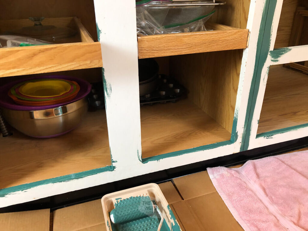small foam roller apply cabinet paint