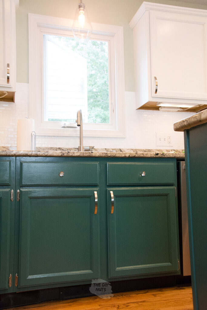 painted green kitchen cabinets with upper painted white cabinets