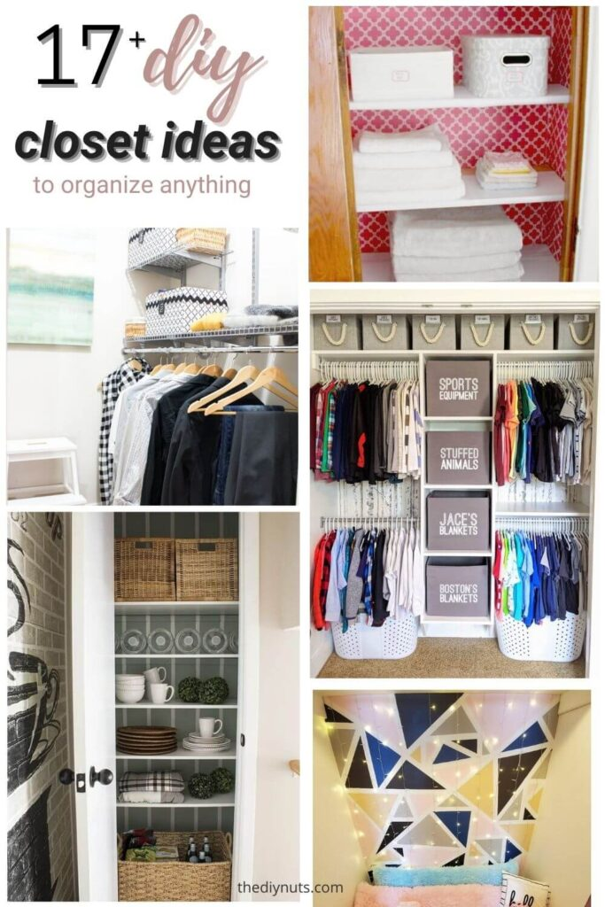 17+ diy closet ideas with 5 different images of closets
