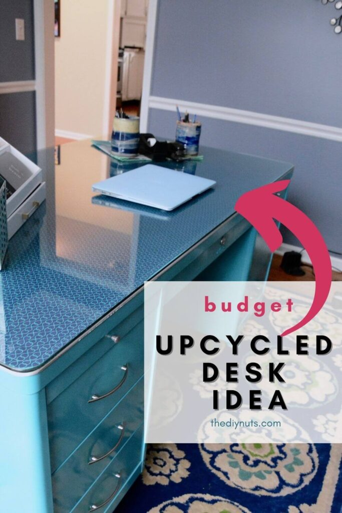 budget upcycled desk idea with teal spray paint metal desk