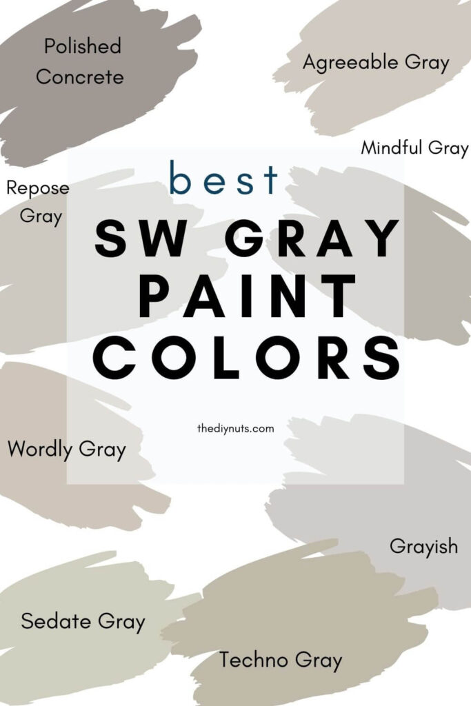 best Sherwin Williams Gray Paint colors with gray splotches of paint