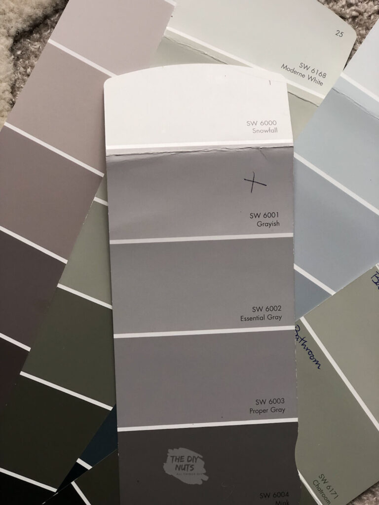 Sherwin Williams gray paint swatch with grayish, essential gray, proper gray