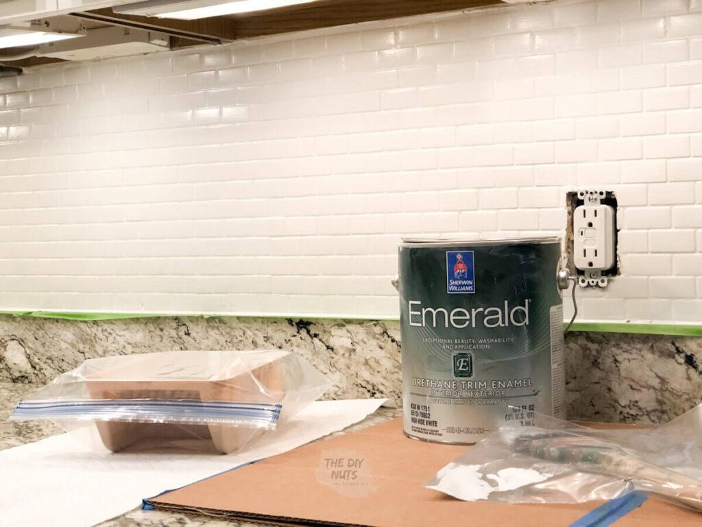 Emerald Urethane Enamel Paint used to paint glass tile