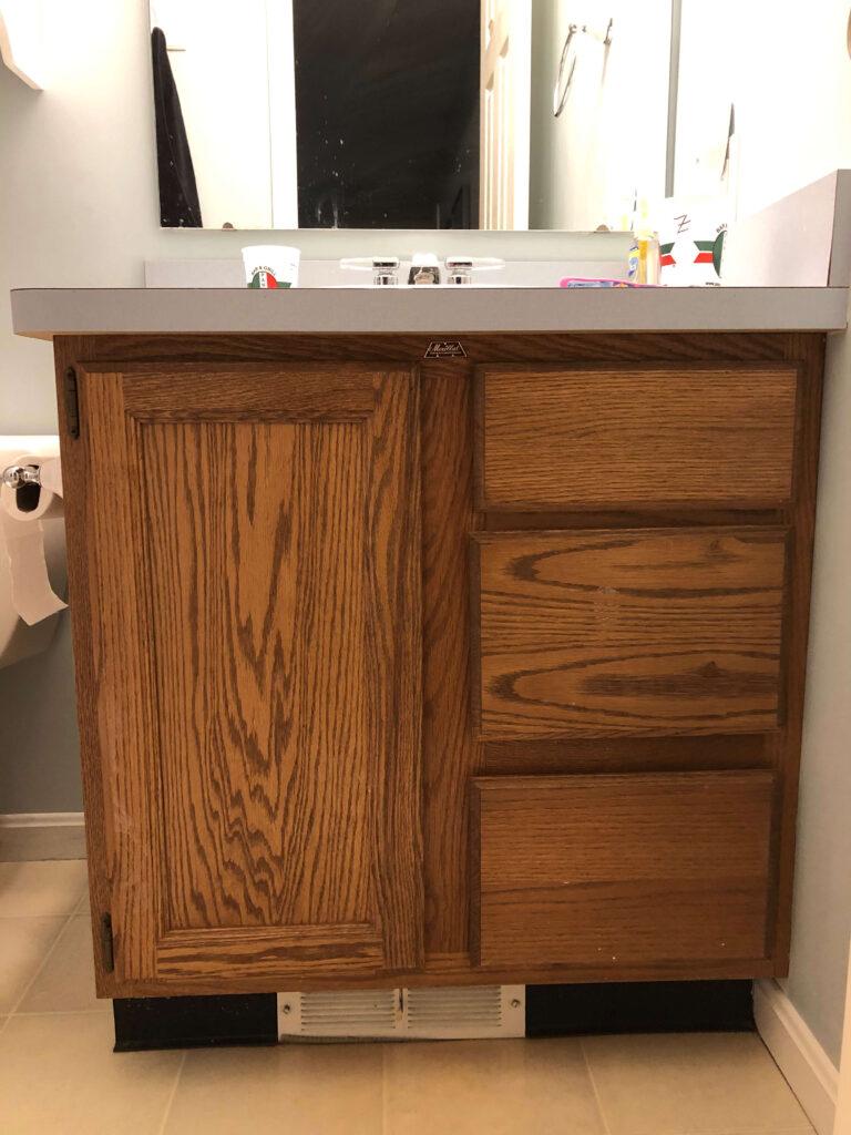 before painting bathroom vanity oak cabinets