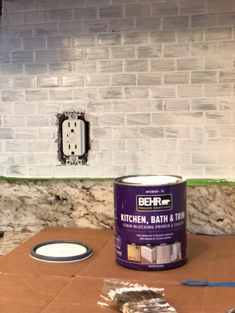 Behr primer used to paint glass tile