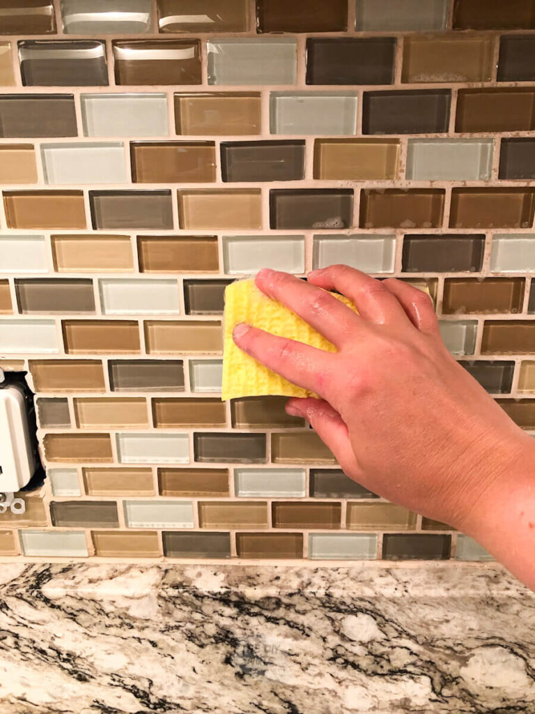 sponge preping tile to be painted