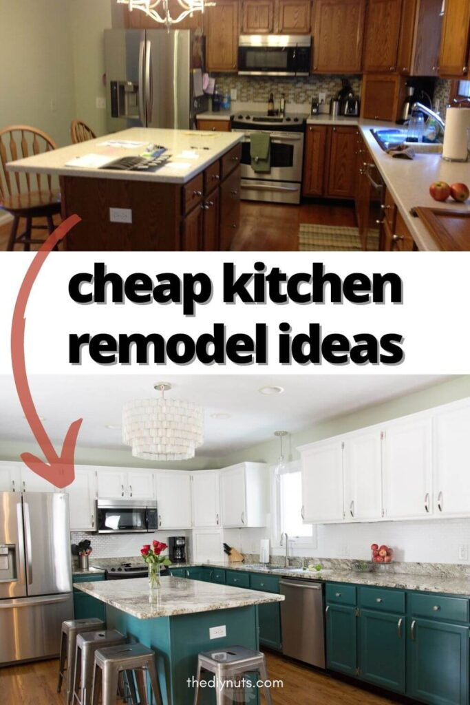 cheap kitchen remodel ideas with oak dated kitchen before picture and after picture with two-toned painted cabinets
