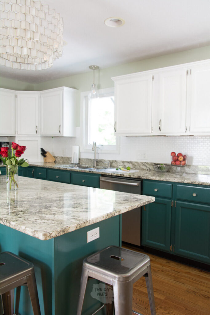 DIY kitchen remodel ideas with green painted lower cabinets and white upper cabinets and painted glass tilel backsplash