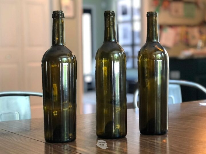 wine bottles with stickers or labels removed