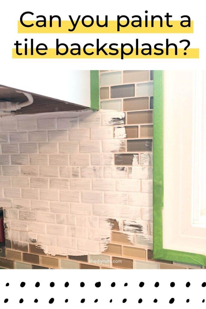 Can you paint tile backsplash with image of half primed glass tile