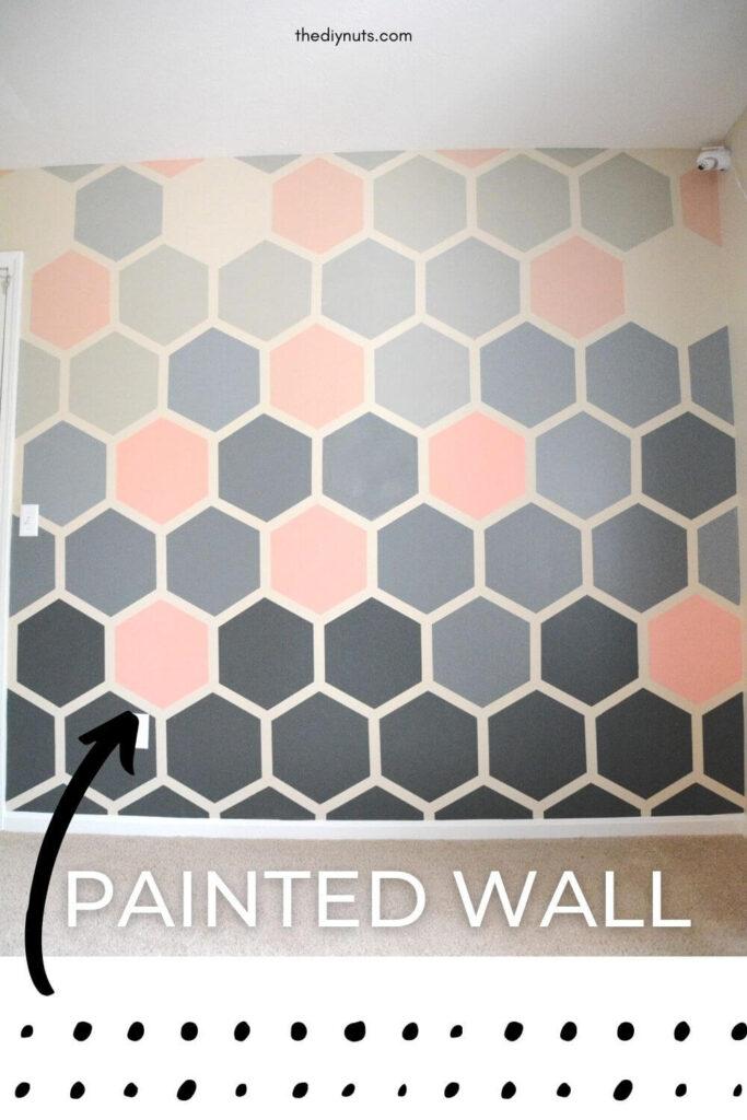 pink, gray hexagon wall painted idea
