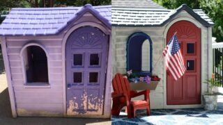 littel tikes purple playhouse and painted plastic house makeover