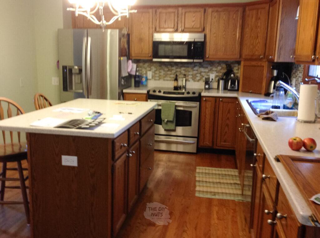before kitchen makeover oak cabinets