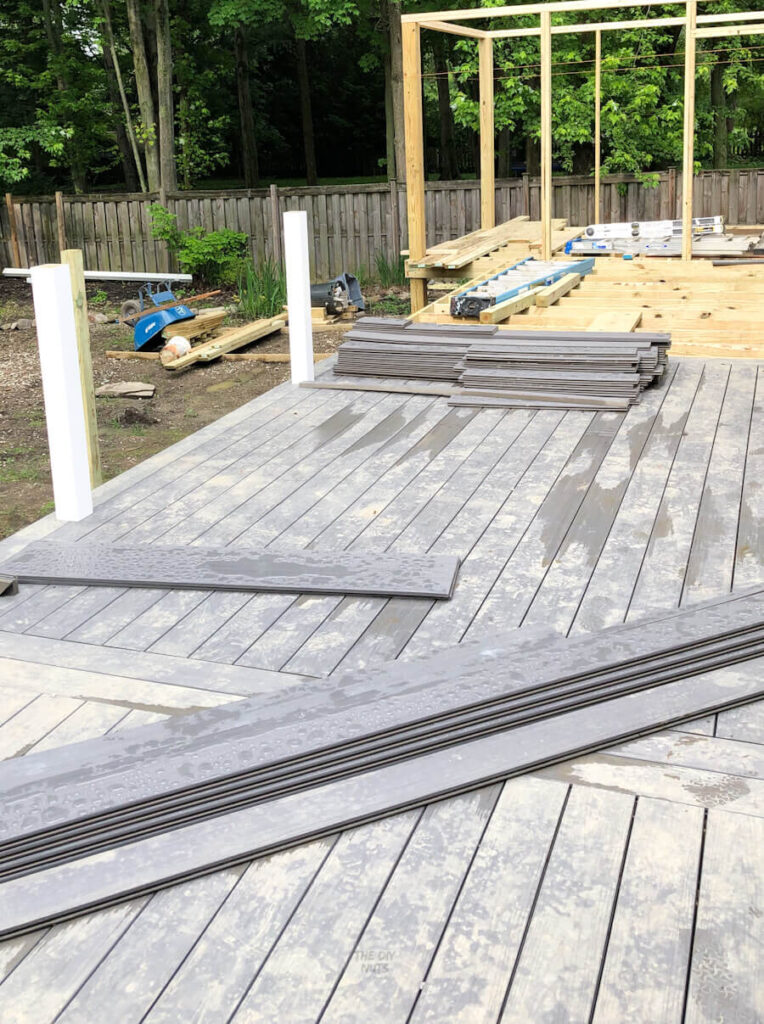 gray composite deck being built