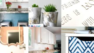 home diy projects: painted kitchen cabinets, bathroom makeover, file cabinet makeover, canvas art and spray painted flower pots