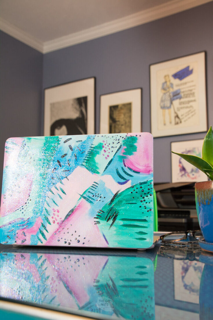 cool abstract painting on laptop case