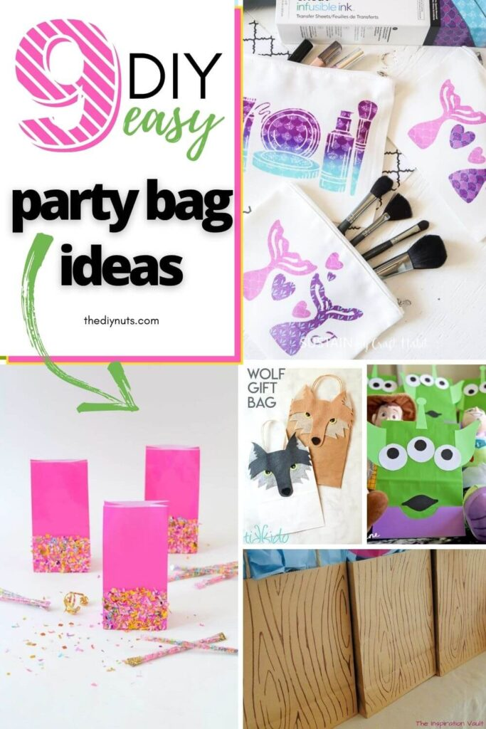 9 diy easy party bag ideas with collage of DIY party bags