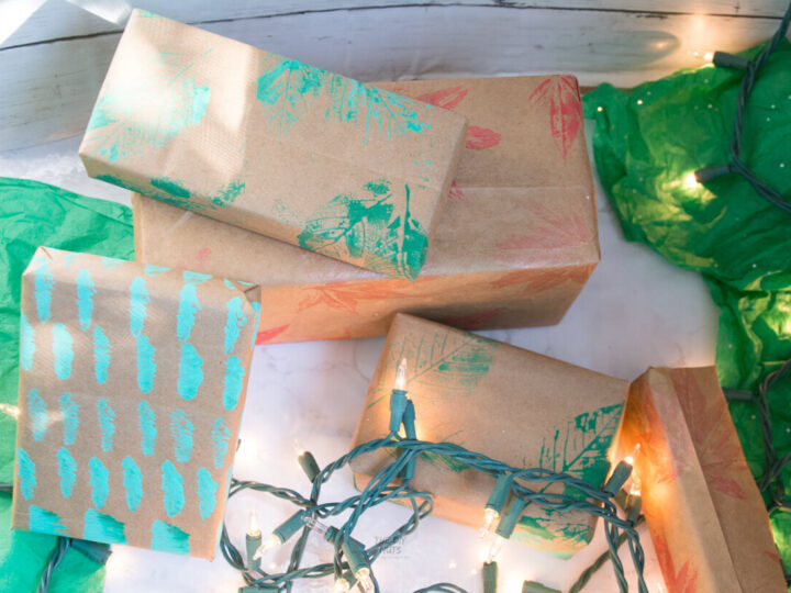 DIY wrapping paper made from handpainted brown bags