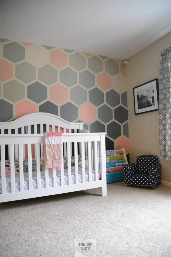 Finished nursery with DIY ombre hexagon wall